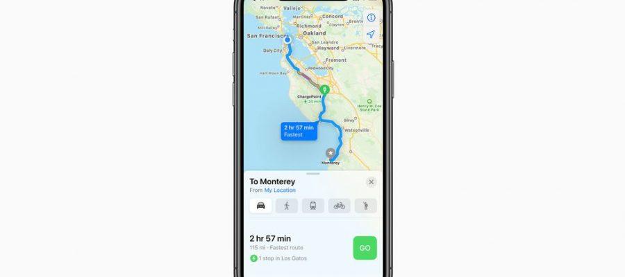 Apple anunció que el enrutamiento de vehículos eléctricos a su aplicación Maps
